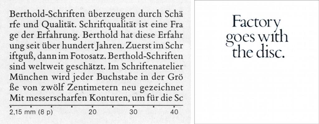 La page du spécimen du Bembo qui inspire Saville …mais le 'g' n'est pas le bon. À gauche, détail d'une page de spécimen de Berthold. À droite, couverture d'un feuillet promotionnel de 1985 composé avec le même Bembo «fautif» que celui d'Always Now.
