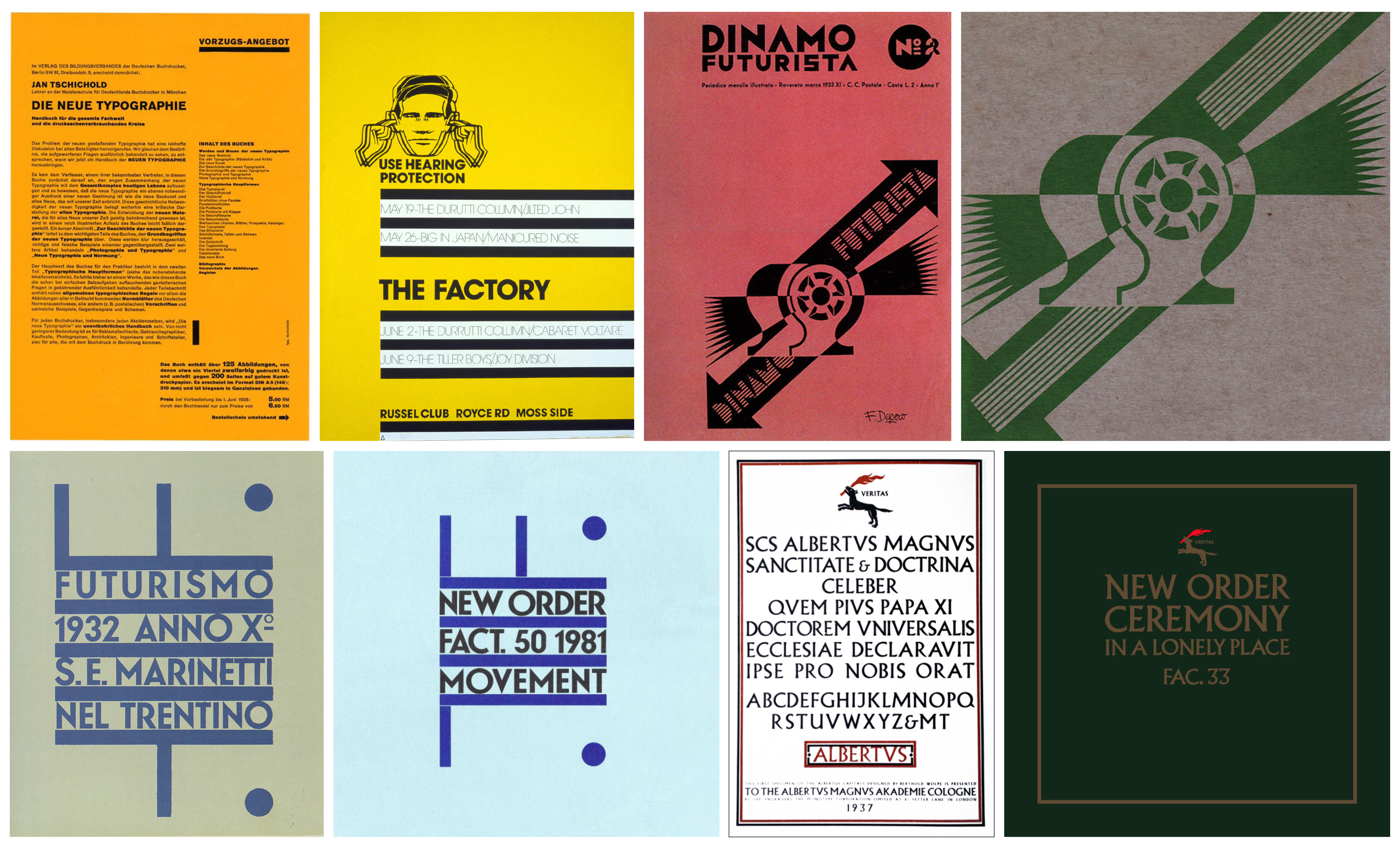 De gauche à droite et de haut en bas, les sources des citations de Saville : Jan Tschichold, Die Neue typographie, 1928. Peter Saville, FAC 1, The Factory, 1978. Fortunato Depero, Dinamo Futurista, 1933. Peter Saville, FAC 53, Procession, sep. 1981. Fortunato Depero, Futurismo, 1932. Peter Saville, FACT 50, Movement, nov. 1981. Berthold Wolpe, Albertus specimen, 1937. Peter Saville, FAC 33, Ceremony, mar. 1981.