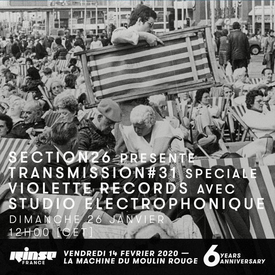 section26 Rinse Transmission spéciale Violette Records et Studio Electrophonique